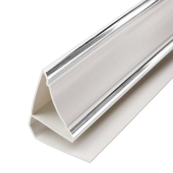 Плинтус потолочный люкс серебро 3м