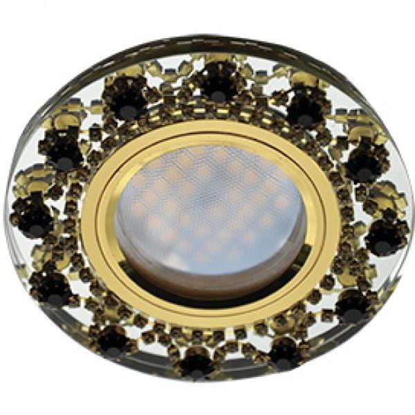 Светильник точечный Ecola DL1660 28*93 GU5.3 круг янтар. страз. золото зерк/золото