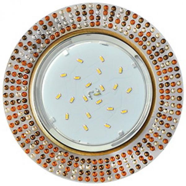 Светильник точечный Ecola GX53-H4 5319 40*123 круг ,проз.-янтар моз. зерк/черн. бронза