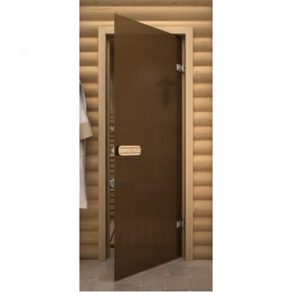 Дверь 1890*690 мм ДЛЯ БАНИ термостекло Бронза матовая Aqd