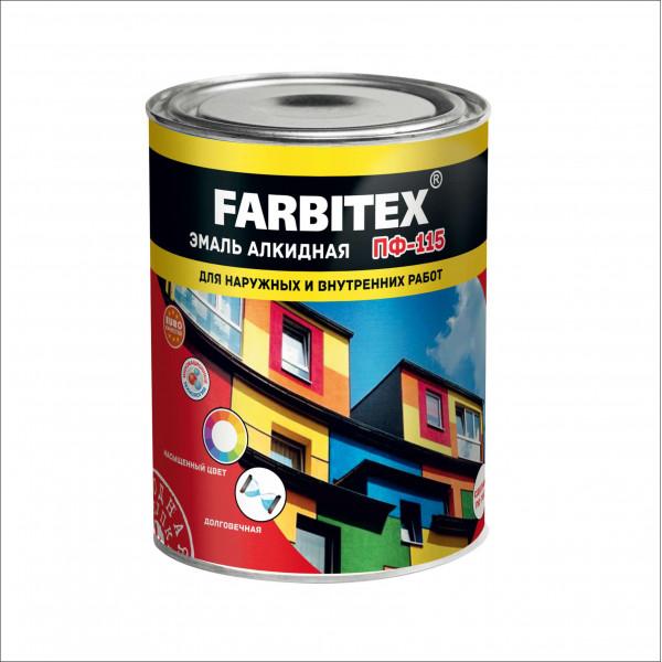 Эмаль ПФ-115 желтая 0,8кг/14шт FARBITEX