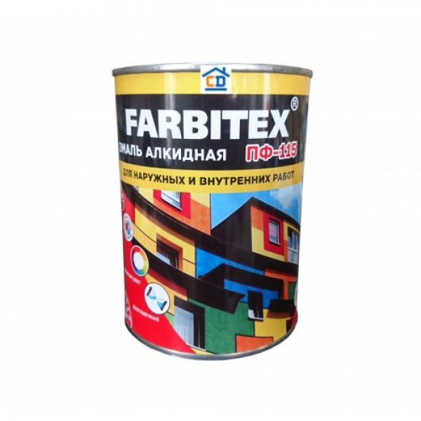 Эмаль ПФ-115 белая 0,8кг/14шт FARBITEX
