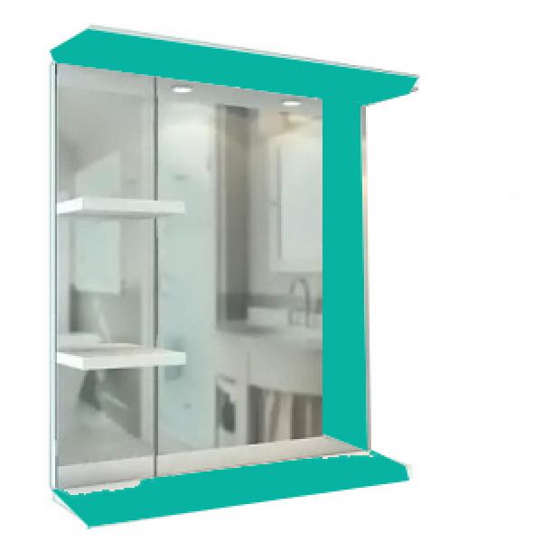 Зеркало-шкаф Лима  650R (2 полки) бирюза