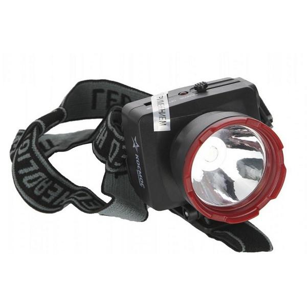 Фонарь налобный H1WLED акк. красно-черный/пластик Космос