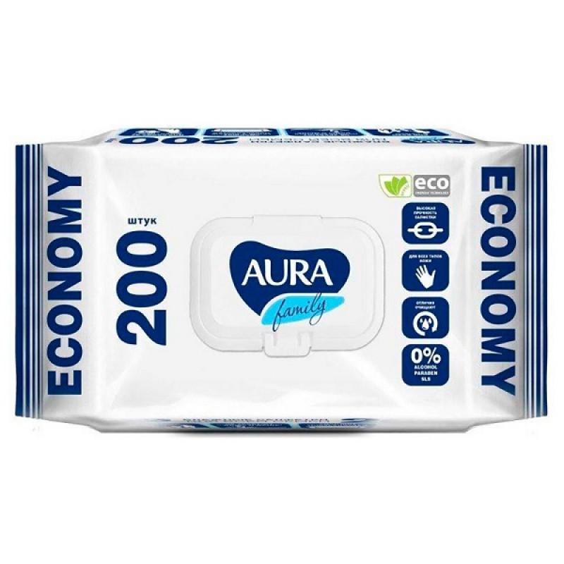 Влажные салфетки AURA антибактериальные 200шт. с крышкой