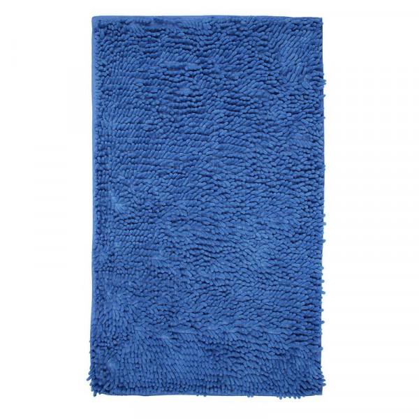 Коврик для ванной 50*80 см микрофибра h=3см Лапша синий
