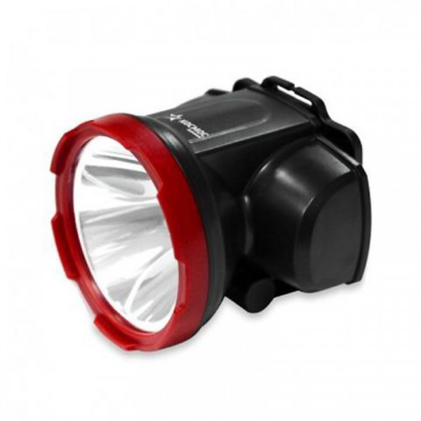 Фонарь налобный H5W LED акк. красно-черный/пластик Космос